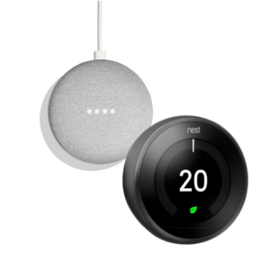 Google Nest T3029EX Learning Thermostat 3rd Generation & Google Home Mini 2nd Gen - Chalk