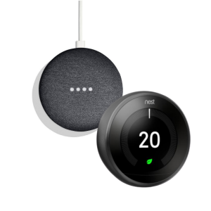 Google Nest T3029EX Learning Thermostat 3rd Generation & Google Home Mini 2nd Gen - Charcoal