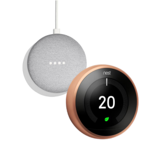 Google Nest T3031EX Learning Thermostat 3rd Generation & Google Home Mini 2nd Gen - Chalk