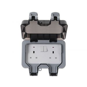 Nexus Storm Weatherproof Double Socket, 13A, Switched, Grey