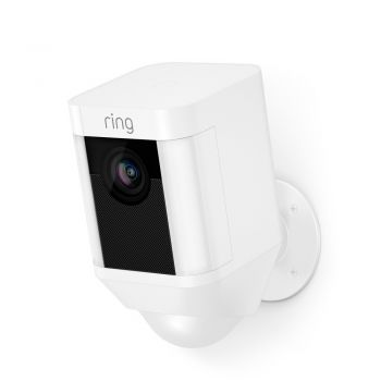 Ring Battery Spotlight Cam in White with Free KitSound Wireless Earbuds