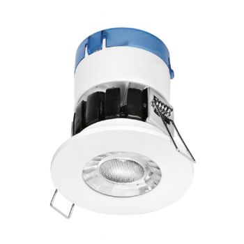 Aurora A6 6W LED Fire Rated Downlight, Fixed, Dimmable, White