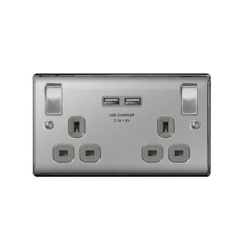 Nexus Metal NBS22UG 13A Double Plug Socket with 2 x USB Charger (3.1A), Brushed Steel, Grey Inserts